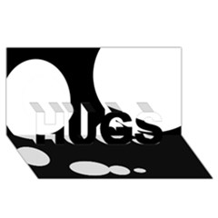 Black and white moonlight HUGS 3D Greeting Card (8x4)