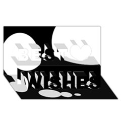 Black and white moonlight Best Wish 3D Greeting Card (8x4)