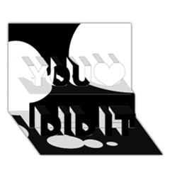 Black and white moonlight You Did It 3D Greeting Card (7x5)