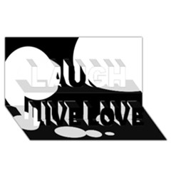 Black and white moonlight Laugh Live Love 3D Greeting Card (8x4)