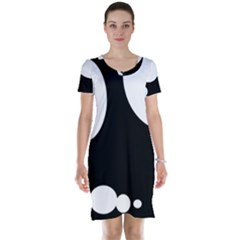 Black and white moonlight Short Sleeve Nightdress
