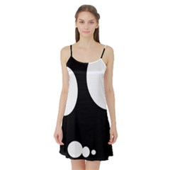 Black and white moonlight Satin Night Slip