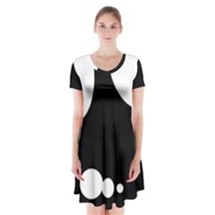 Black and white moonlight Short Sleeve V-neck Flare Dress