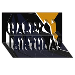 Digital abstraction Happy Birthday 3D Greeting Card (8x4)