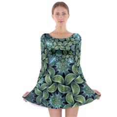 Blue Lotus Long Sleeve Skater Dress