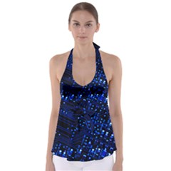Blue Circuit Technology Image Babydoll Tankini Top