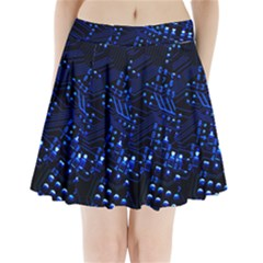 Blue Circuit Technology Image Pleated Mini Skirt