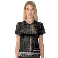 Black technology Circuit Board Electronic Computer Women s V-Neck Sport Mesh Tee