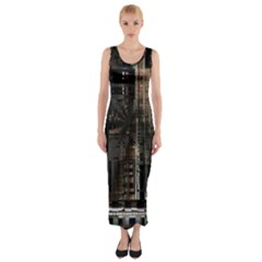 Black technology Circuit Board Electronic Computer Fitted Maxi Dress