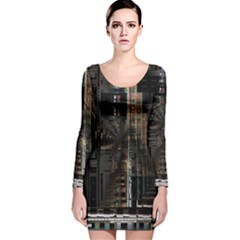 Black technology Circuit Board Electronic Computer Long Sleeve Velvet Bodycon Dress