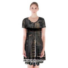 Black technology Circuit Board Electronic Computer Short Sleeve V-neck Flare Dress