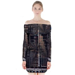 Black technology Circuit Board Electronic Computer Long Sleeve Off Shoulder Dress