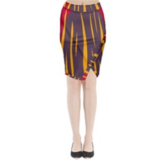 Fire Midi Wrap Pencil Skirt