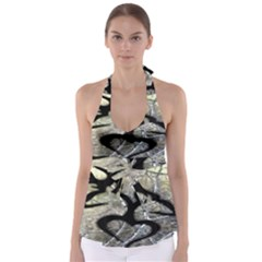 Black Love Browning Deer Camo Babydoll Tankini Top