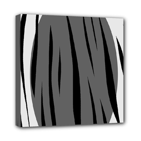 Gray, black and white design Mini Canvas 8  x 8