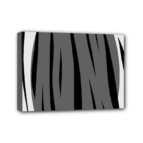 Gray, black and white design Mini Canvas 7  x 5