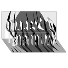Gray, black and white design Happy Birthday 3D Greeting Card (8x4)