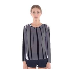 Gray, black and white design Women s Long Sleeve Tee