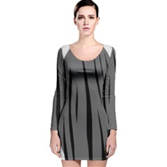Gray, black and white design Long Sleeve Velvet Bodycon Dress