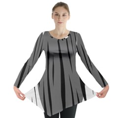 Gray, Black And White Design Long Sleeve Tunic