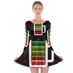 Black Energy Battery Life Long Sleeve Skater Dress