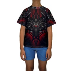 Black Dragon Grunge Kids  Short Sleeve Swimwear