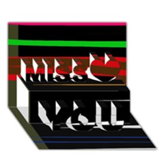 Colorful Lines  Miss You 3d Greeting Card (7x5)