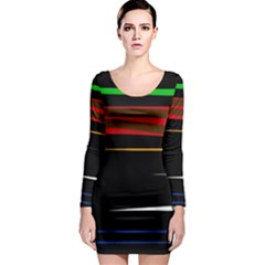 Colorful lines  Long Sleeve Bodycon Dress