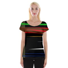 Colorful Lines  Women s Cap Sleeve Top