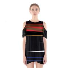 Colorful lines  Cutout Shoulder Dress