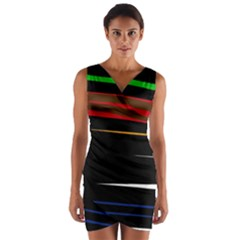 Colorful lines  Wrap Front Bodycon Dress