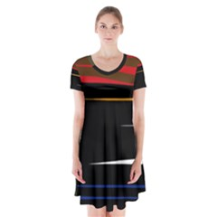 Colorful Lines  Short Sleeve V Neck Flare Dress
