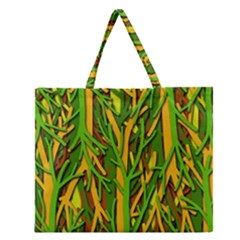 Upside-down forest Zipper Large Tote Bag