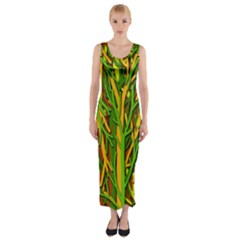 Upside Down Forest Fitted Maxi Dress