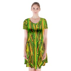 Upside-down forest Short Sleeve V-neck Flare Dress