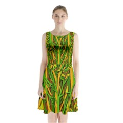 Upside Down Forest Sleeveless Chiffon Waist Tie Dress
