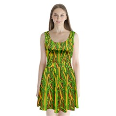 Upside-down forest Split Back Mini Dress