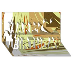 Brown decorative design Happy Birthday 3D Greeting Card (8x4)