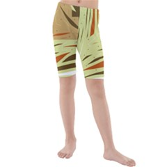 Brown decorative design Kids  Mid Length Swim Shorts