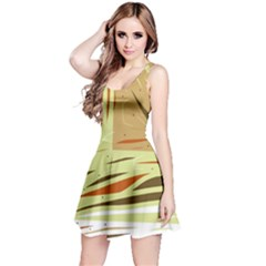 Brown decorative design Reversible Sleeveless Dress