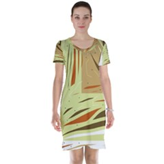 Brown decorative design Short Sleeve Nightdress