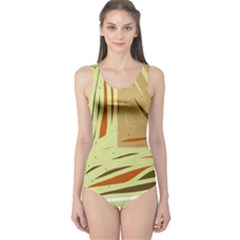 Brown decorative design One Piece Swimsuit