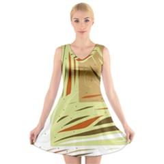 Brown decorative design V-Neck Sleeveless Skater Dress