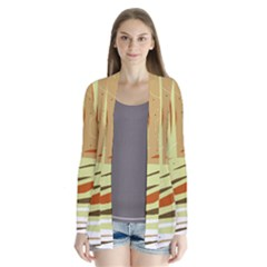 Brown Decorative Design Drape Collar Cardigan