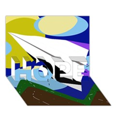 Paper airplane HOPE 3D Greeting Card (7x5)