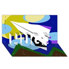 Paper airplane HUGS 3D Greeting Card (8x4)