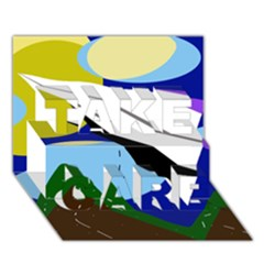 Paper airplane TAKE CARE 3D Greeting Card (7x5)