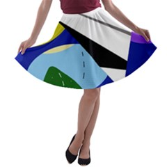 Paper airplane A-line Skater Skirt