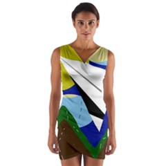 Paper airplane Wrap Front Bodycon Dress