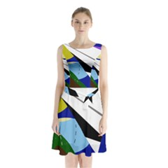 Paper Airplane Sleeveless Chiffon Waist Tie Dress